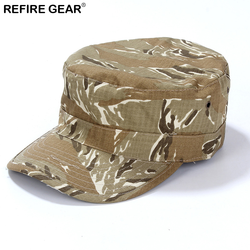 ReFire Gear Outdoor Camouflage Hiking Camping Cap Men Conceal Hunting Fishing Hat Women Man New Airsoft Flat Camo Cap