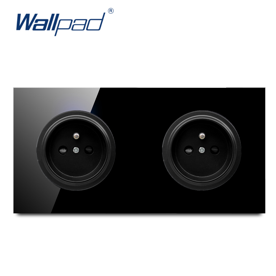 Wallpad Crystal Tempered Pure Black Glass Panel 16A Double EU French Standard Wall Power Socket Outlet Grounded