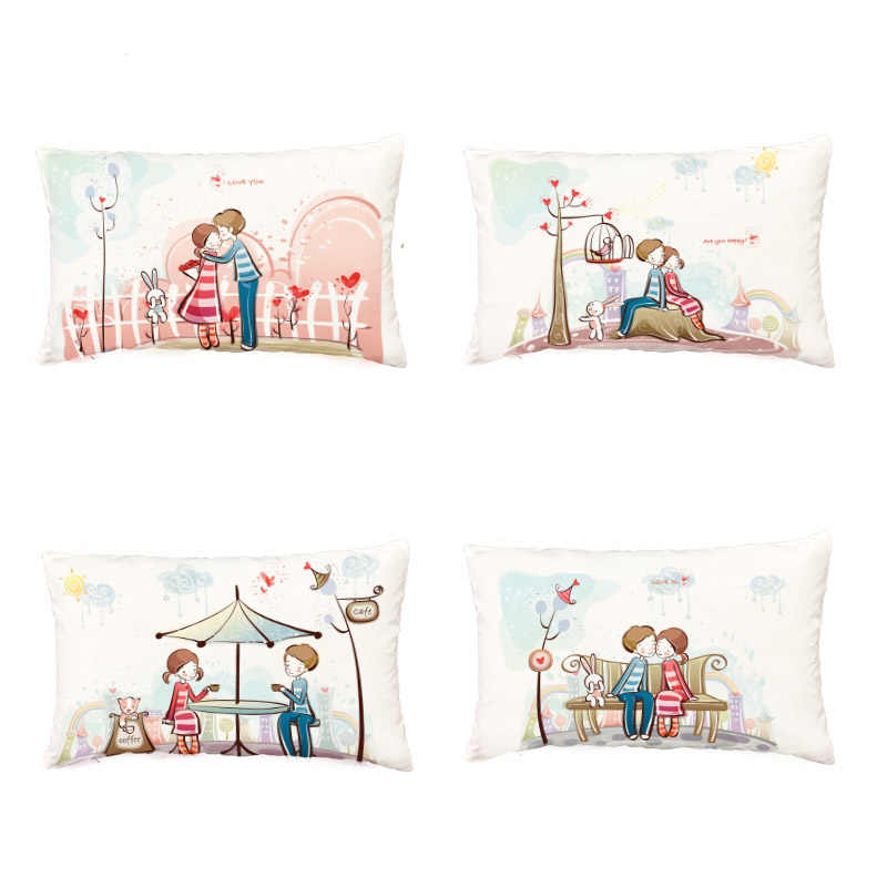 Valentine's Day Series 30x50cm White Cushion Cover Elephant Rabbit Love Moon Hot Air Balloon Bedroom Sofa Gift Decor Pillow Case