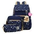 Mujer Mochilas 3 unidades Set Mujeres Estrella Mochila Impresión de la Lona Bolsa de Hombro 4 Colores mochilas Mochilas escolares para Las Niñas Adolescentes