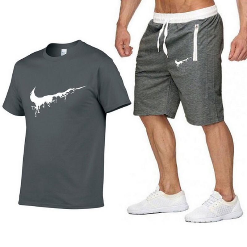 2019 Fashion New Tracksuit Men Two Piece Short Pant+t-shirts Summer Cool Sweatshirts Suit Male Chandal Hombre Jogging Homme Suit