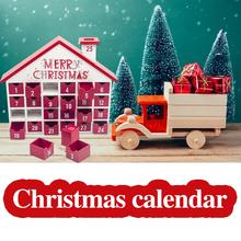 Wooden Christmas Advent Calendar With 25 Drawers Children's Candy Gift Storage Box Christmas Calendar Christmas Decoration christmas decorations innovative printed multi layer candy storage bag christmas countdown calendar storage bag