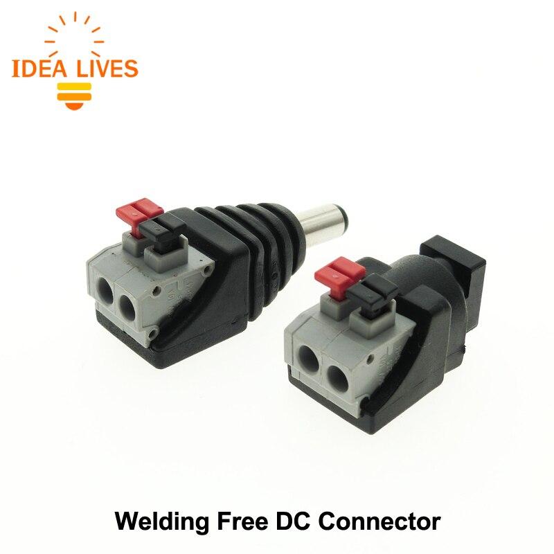 DC Connector for LED Strip Design Clip Spring Connector 5.5*2.1mm Male Female DC Connector Adapter, 5pcs/lot. dc connector female connector