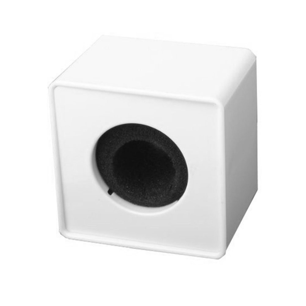 White ABS Mic Microphone Interview Square Cube Logo Flag Station ABS microphone sticker