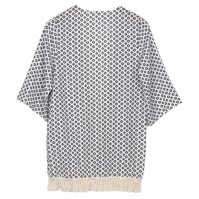hirigin Ladies women Blouse 2018 three quarter sleeve cover ups blouse Geometry Printed Summer Chiffon Shawl Kimono Cardigan