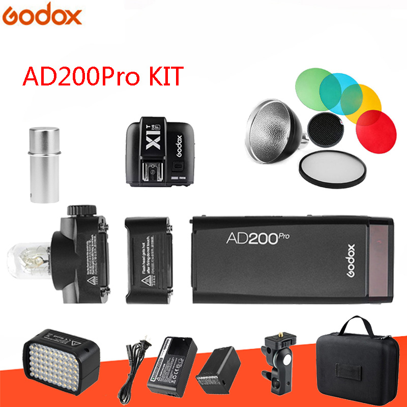 GODOX AD200Pro 200W 2.4G Speedlite Pocket Flash Strobe with X2T-S Trigger Transmission with BD-07 Barn Door Honeycomb Grid 4 Color Filter Kit and AD-S15 Flash Lamp Tube Bulb Protector Cover for Sony