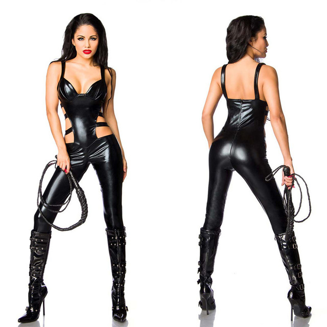 2018 Sexy Black Catwomen Jumpsuit Spandex Latex PVC Catsuit Costumes for Women Bodysuits Fetish Leather Rompers Sexy lingerie