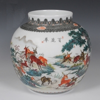 Jingdezhen Master's Hand Painted porcelain vase with certification