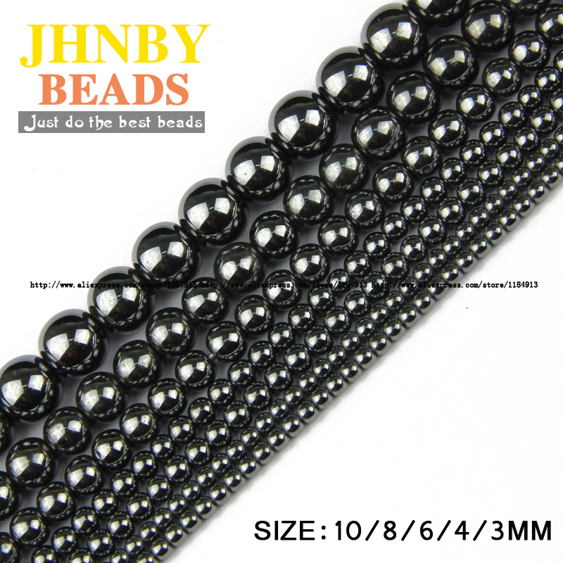 88b4c4a27398 JHNBY Piedra Natural Negro Hematite beads Ronda Suelto perlas de Piedra  bola Seleccionable 3 4