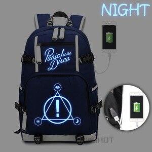 Image 3 - WISHOT Panic ที่ Disco กระเป๋าเป้สะพายหลัง multifunction USB ชาร์จกระเป๋าสำหรับวัยรุ่น Boys Girls School กระเป๋าส่องสว่าง