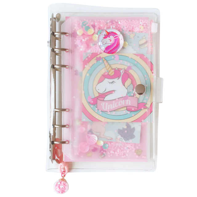 Cute Glitter Decorated Unicorn Printed Notebook Set
