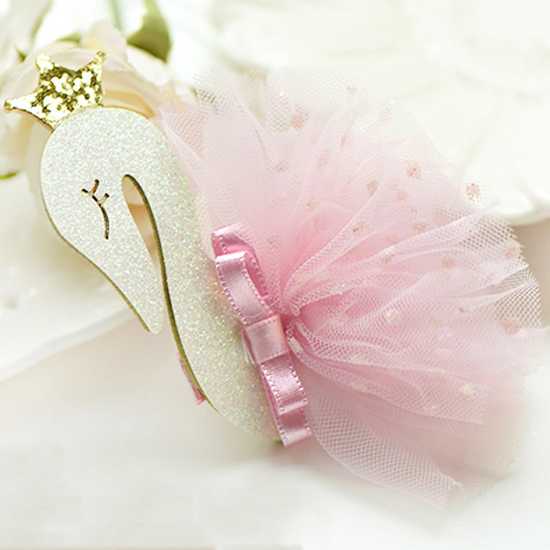 bacace18a6d36 BalleenShiny Baby Girls Swan Gauze Crown Cute Sweet Hair Clips Children  Kids Hairpin Fashion New Style Gift Headband Accessories-in Hair Accessories  from ...