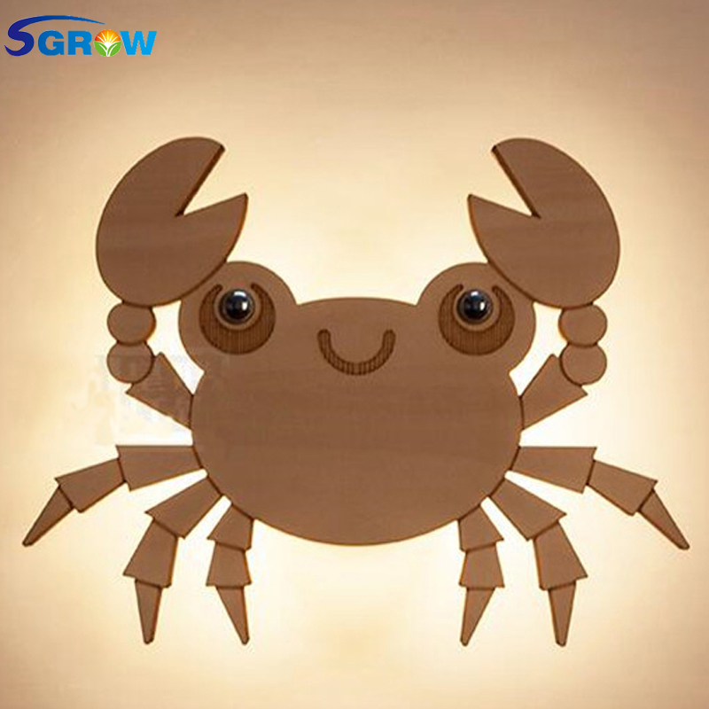 SGROW Creative Wooden Cute Crab Wall Lamp Children Cartoon Lovely Lights for Bedroom Dinning Room Stairs Wall Sconce LED Light creative cartoon dinosaur pattern wall sticker for children s bedroom decoration