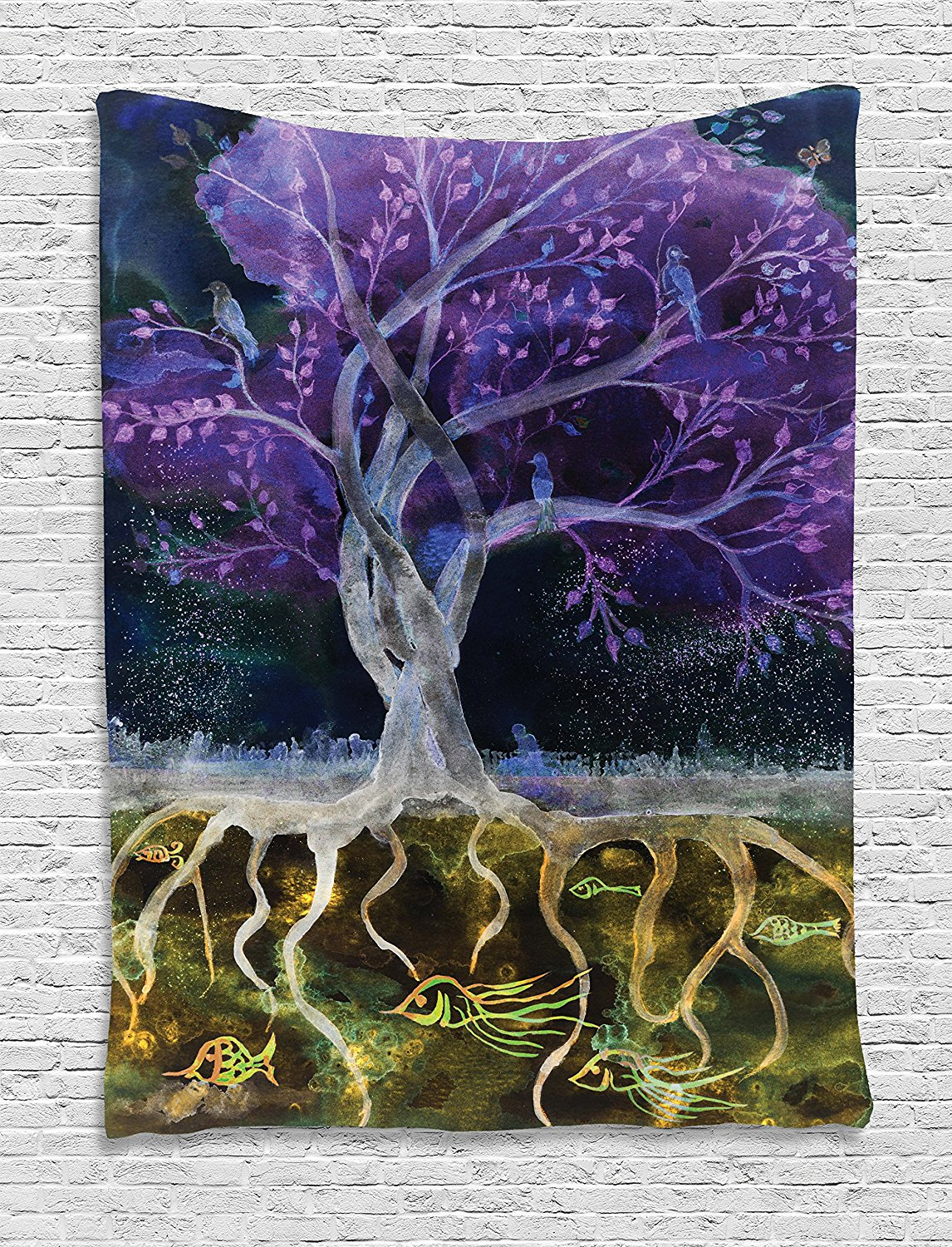 Tapestry Decor, Psychedelic Magical Mysterious Tree at Night with Birds and Fishes and Birds Life Theme, Wall Hanging Tapestry