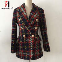 HIGH QUALITY New Autumn Winter Color Line Lattice West Slim Tweed Woolen Jacket Office Ladies Double Button Women's Blazers