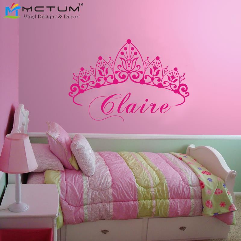 nuevo princesa de la corona del beb tatuajes de pared nombre nursery pared de vinilo