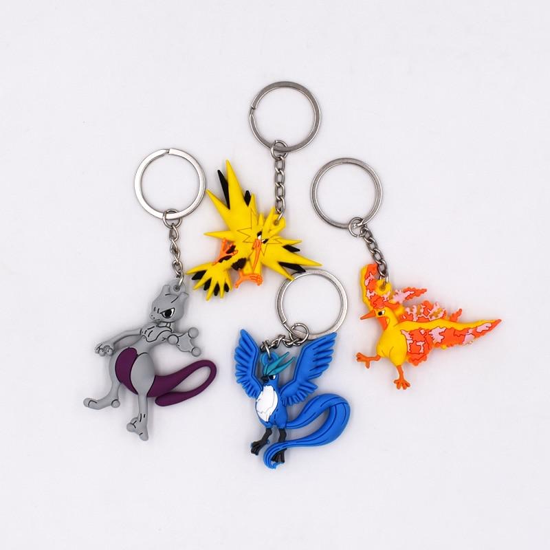 Free Shipping Keychain  Key Holder  Key Ring Pendant 3D Mini Charmander Articuno Zapdos Mewtwo Moltres Figure Toys