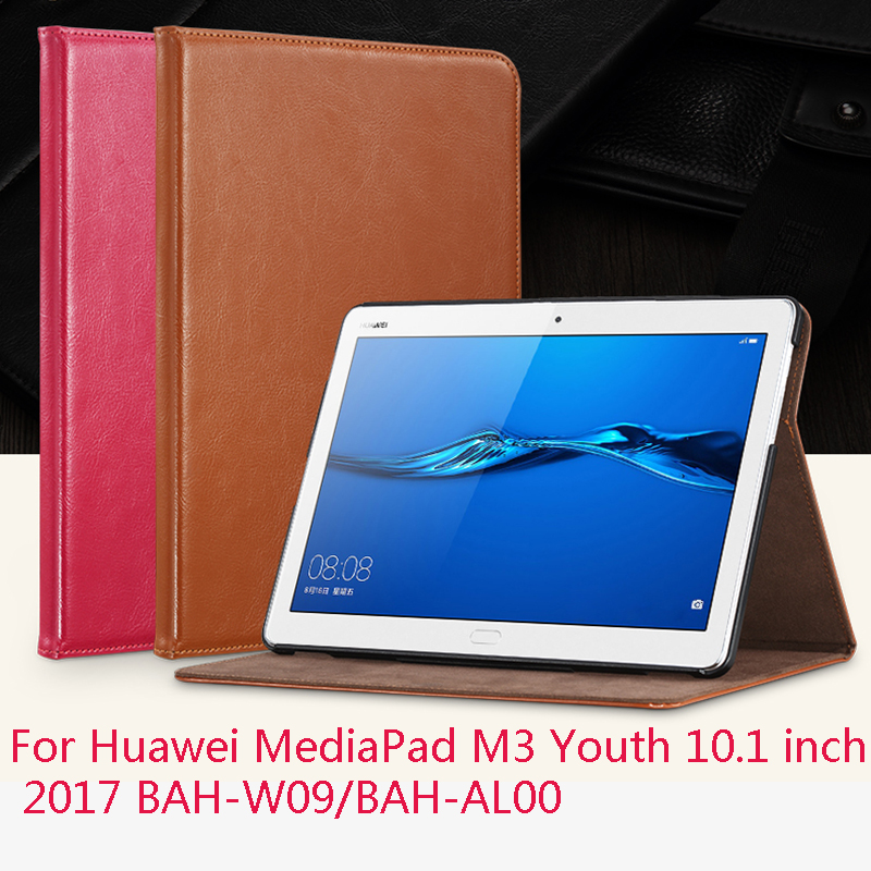 Leather Case cover For Huawei MediaPad M3 Youth 10.1 2017 BAH-W09/BAH-AL00  Smart Wake-up Sleep Stand Tablet PC Protective Case smart ultra stand cover case for 2017 huawei mediapad m3 lite 10 tablet for bah w09 bah al00 10 tablet free gift