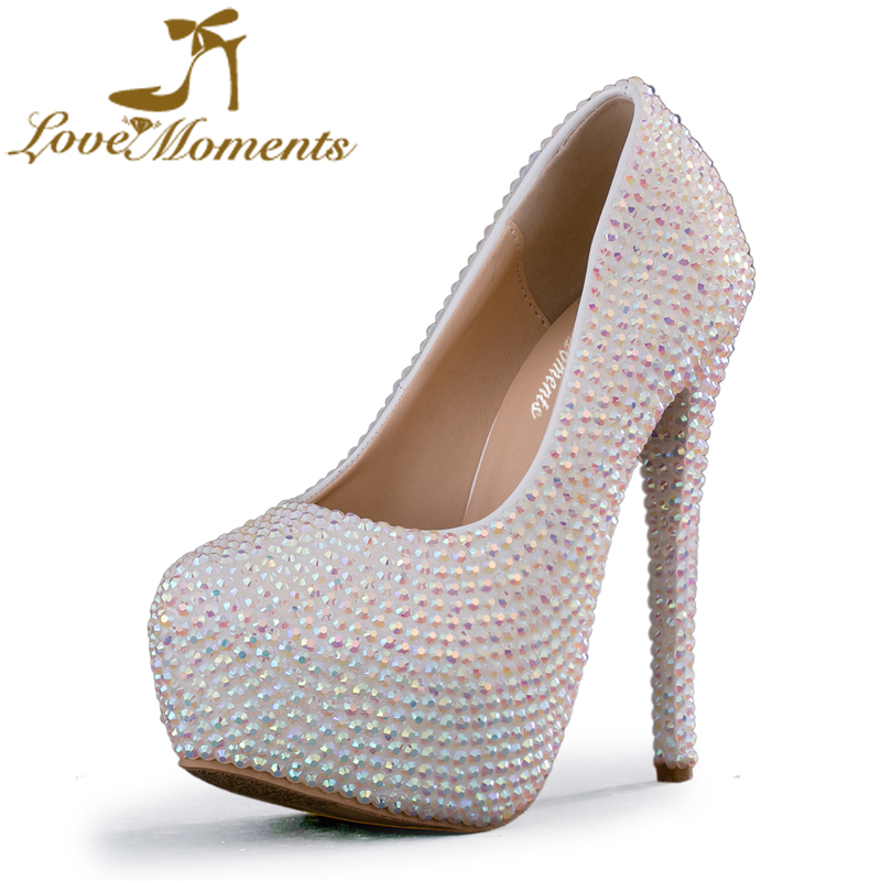 Love Moments White AB rhinestone high heels platform wedding Bridal shoes handmade wedding dress party banquet Shoes for bridal 2015 fashion designer bridal dress shoes platform glitter rhinestone white high heel wedding dress shoes hot drilling party shoe