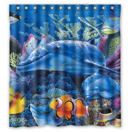 Classical Design Marine Life Under The Sea Bathroom Waterproof Modern Shower Curtain Mildewproof PEVA Bath 66x72 In Curtains From Home