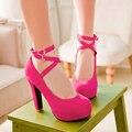 Sapatos de Cabeça Redonda sapatos de salto alto Boate sapatos de plataforma Atravessar Cinto Para Sapatos femininos