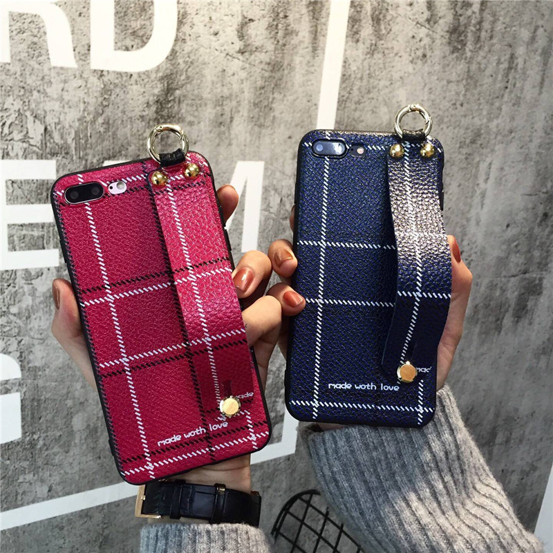 New Fashion 3D Hand holder Soft PU Leather Mobile Phone Cases For iPhoneX 8 8Plus 7 7Plus 6 6S 6Plus Geometric Check Style Cover
