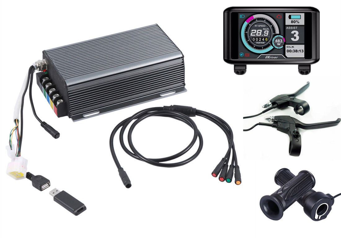 TFT Display 36v- 72v 200a 14KW Motor Electric Bike Controller Sine Wave System Bluetooth Adapter Included