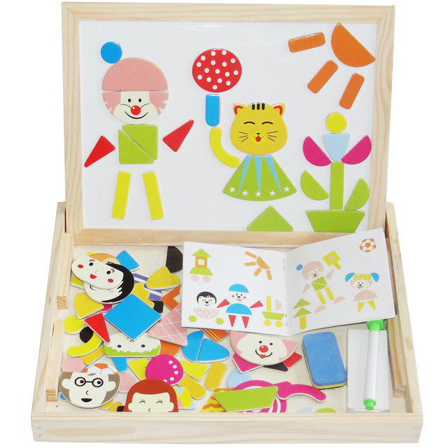 Multifunctional Wooden Toys Educational Magnetic Puzzle Farm Jungle Animal Children Kids Jigsaw Baby Drawing Easel Board