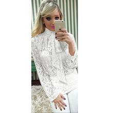 купить Women Summer Tops Lace Blouse Sexy See Through Shirts Bow Tie Long Sleeve Blouse Blusas Camisa Femme Chemise WS948X по цене 859.08 рублей