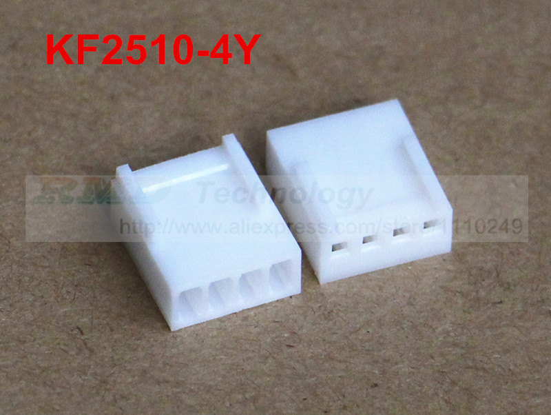 50pcs/lot KF2510 KF2510-4Y Female connector housing 2.54mm 4pin free shipping