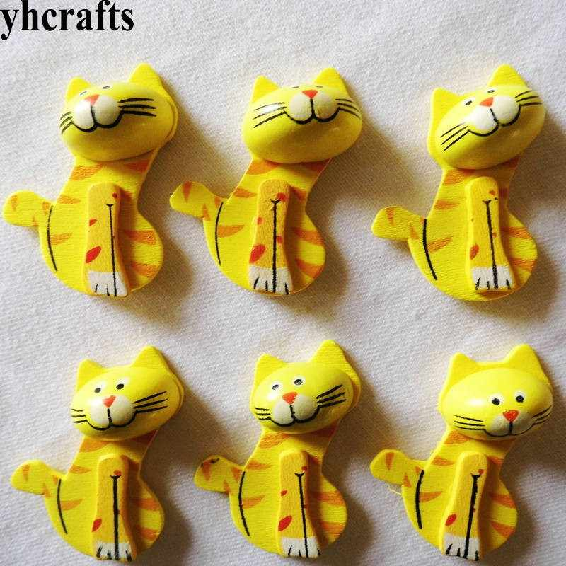 5PCS/LOT,yellow cat wood stickers Spring Easter garden decoration 3D animal Kids toys Birthday gifts Kindergarten toys DIY craft