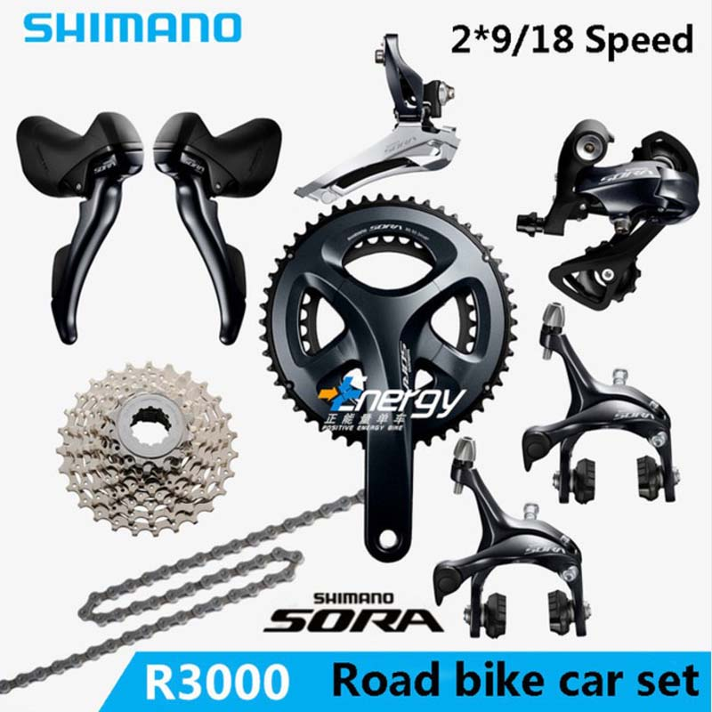 SHIMANO SORA R3000 2x9 18S Speed road car kit Bicycle Crane Sprocket Kit Bicycle Parts Accessories Drive Kit gift Free ShippingSHIMANO SORA R3000 2x9 18S Speed road car kit Bicycle Crane Sprocket Kit Bicycle Parts Accessories Drive Kit gift Free Shipping