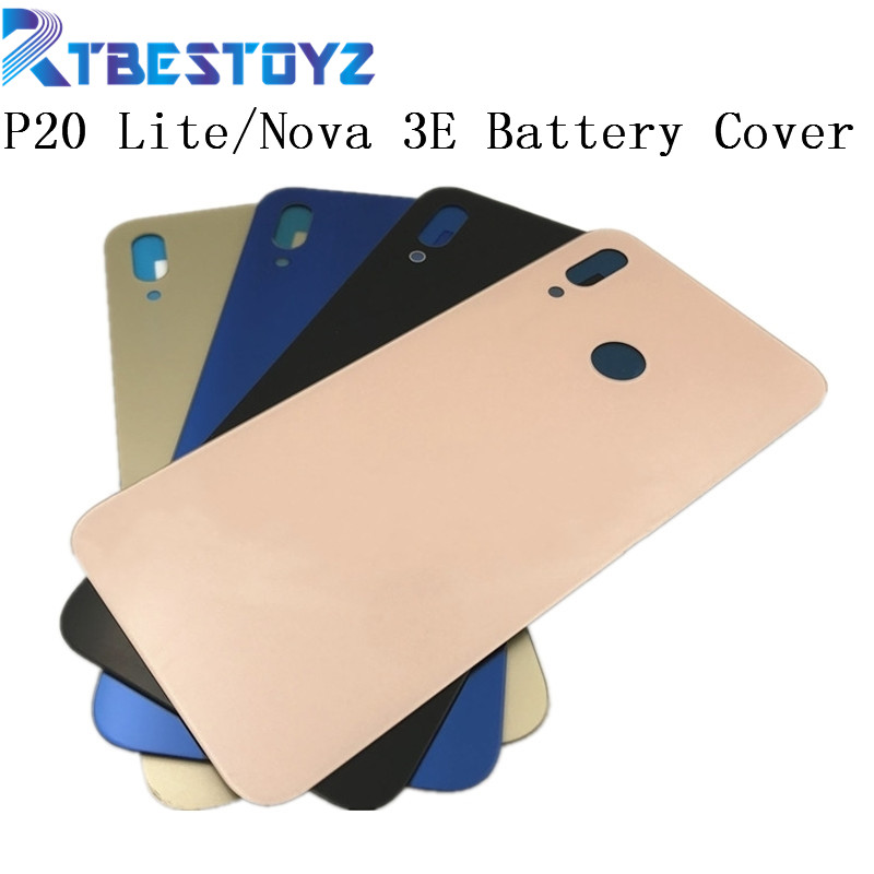 RTBESTOYZ Nova 3e P20 Lite Back Battery Cover Rear Door Housing Case Glass Panel Replacement For Huawei P20 Lite Battery C