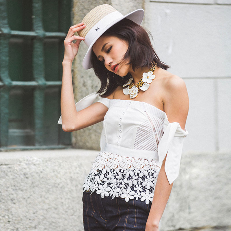 0e55a0a5e9 2016 Women Summer Tops Self Portrait Corset Boho Top Crochet Tunic Shirt  Kimono Lace White off Shoulder Blouse Ladies Tops -in Blouses   Shirts from  Women s ...
