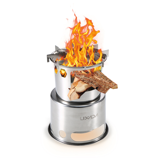 Lixada Portable Folding Wood Stove Outdoor Lightweight Stainless Steel Picnic Camping Cooking Wood Camping Stove