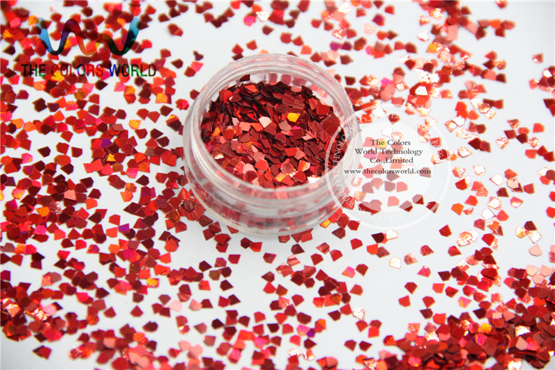 LJ-3 Jewel Shapes Glitter Size 3 mm laser holographic Red color diamond paillette  for Nail Art  and DIY supplies1pack=50g holographic darken brown nail art glitter powder diy manicure supplies ab shimmer diamond blue purple green dust nail product