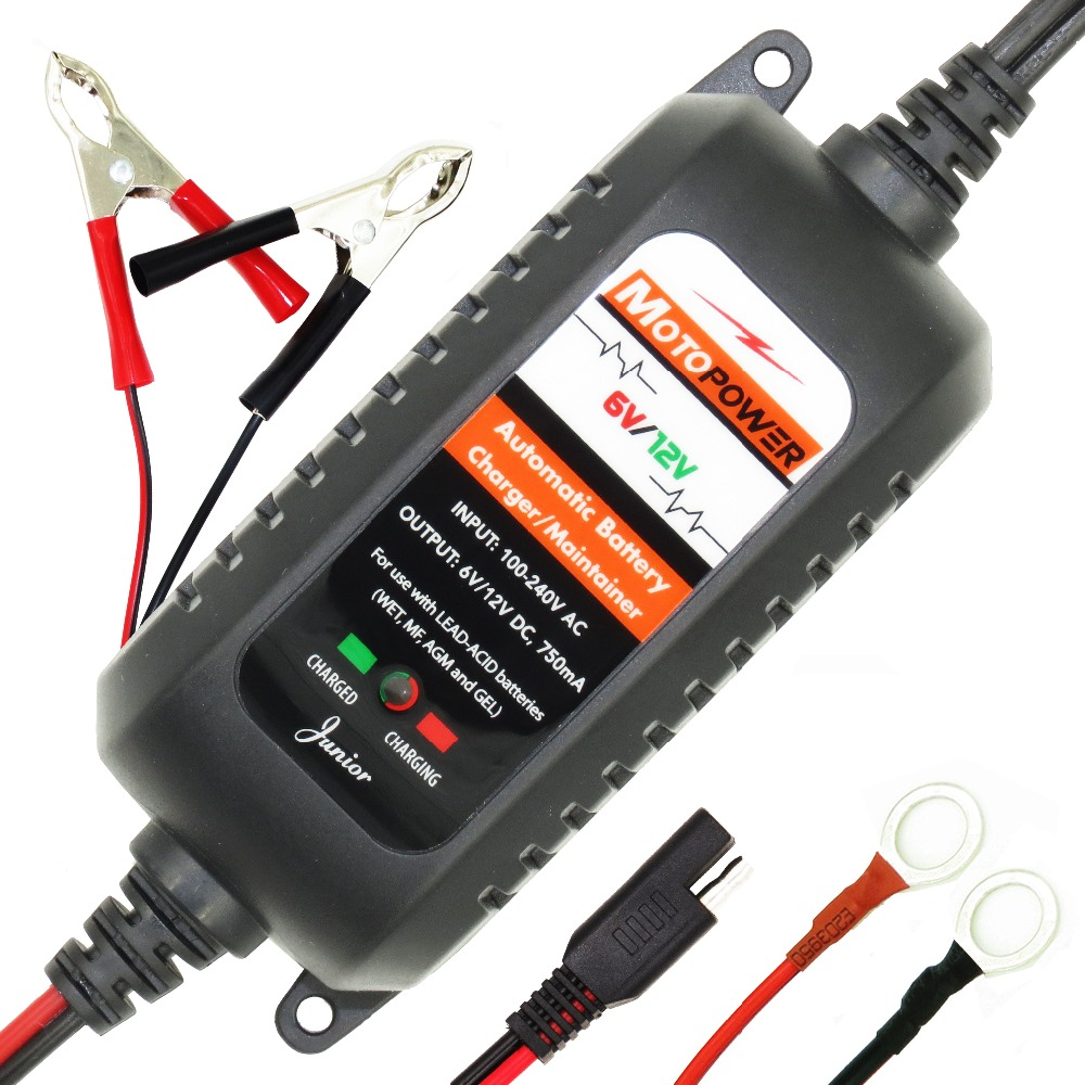 MOTOPOWER 6V 12V Automatic Car Motorcycle Battery Charger Maintainer For all types of lead acid batteries
