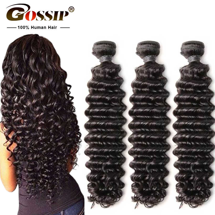 "Gossip Deep Wave Bundles Brazilian Hair Weave Bundles 100% Human Hair Weaves Remy Hair Extension 8"" To 28"" Bundles Can Be Dyed"
