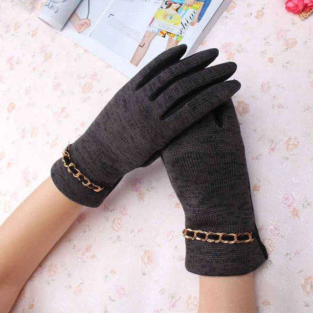 47d77079fbe2e C Beauty Lady Wool Knitted Gloves New Design Chain Pattern Full Fingers Gloves  Mittens Women Winter Fashion Warm guantes