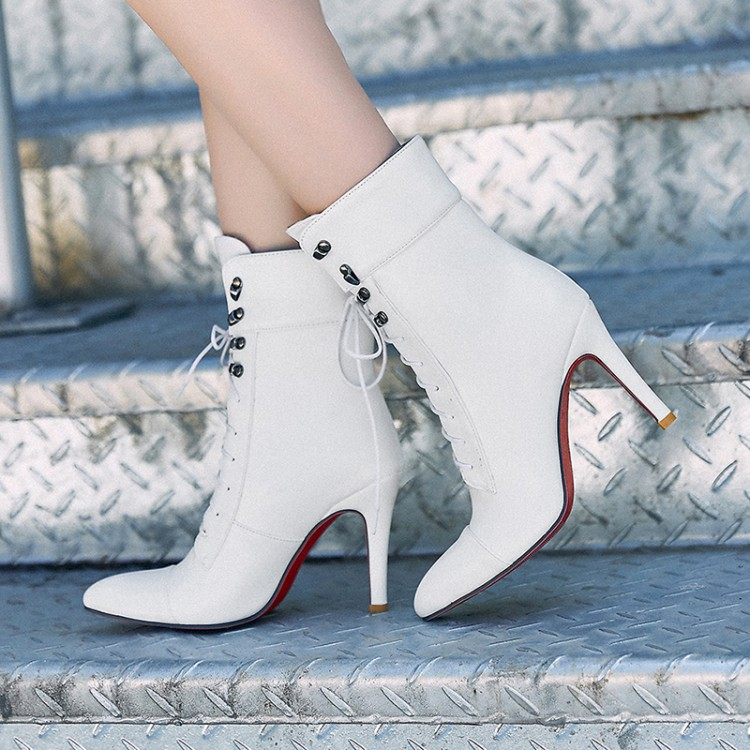 ФОТО Hot Big size 34-43 Women Short  Ankle boots Sexy high-heel pointed toes Spring Autumn Winter  shoes High-quality 6-23
