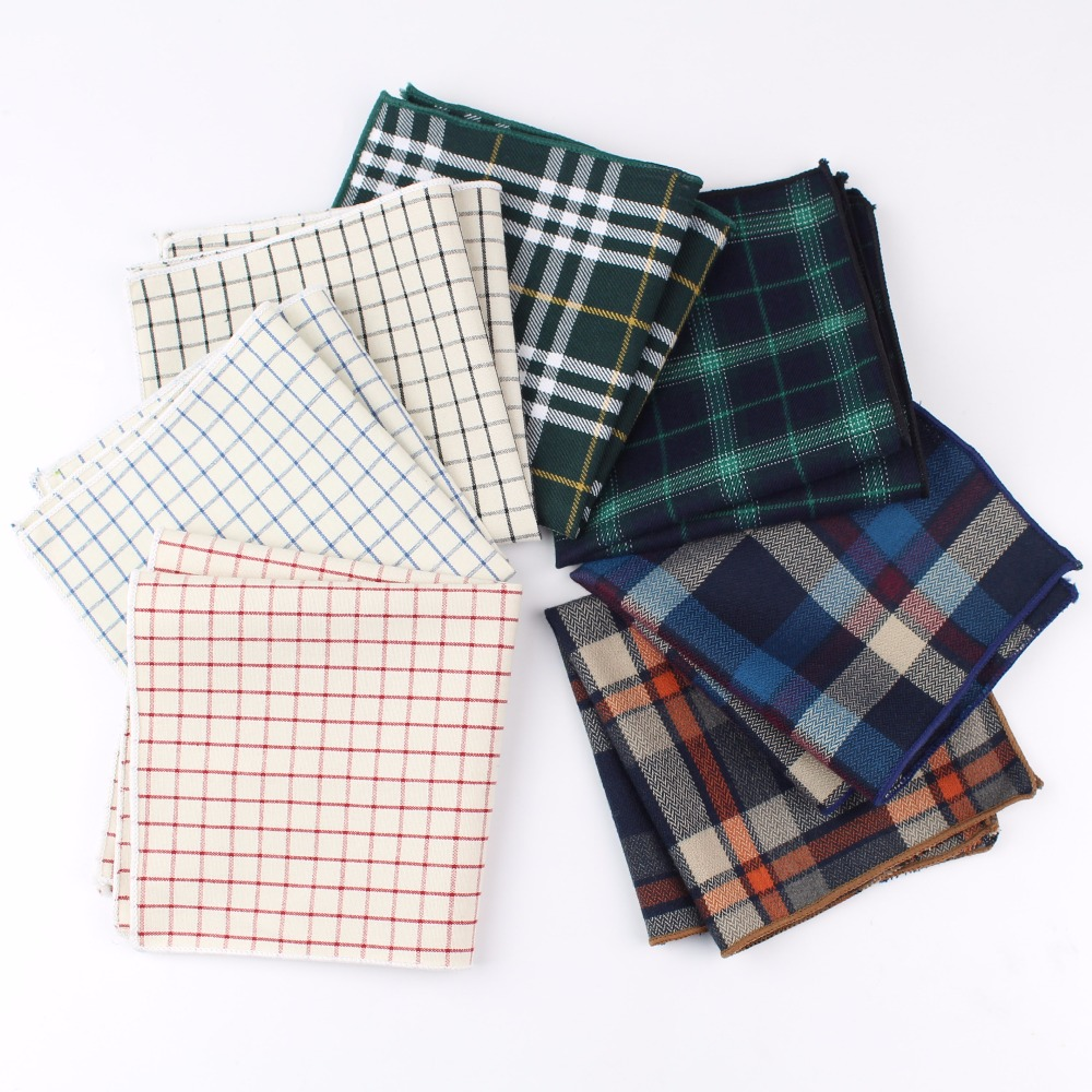 Dark Colorful Cotton Handkerchiefs Woven Printing Plaid Pocket Square Mens Casual Streak Square Pockets Handkerchief Towels
