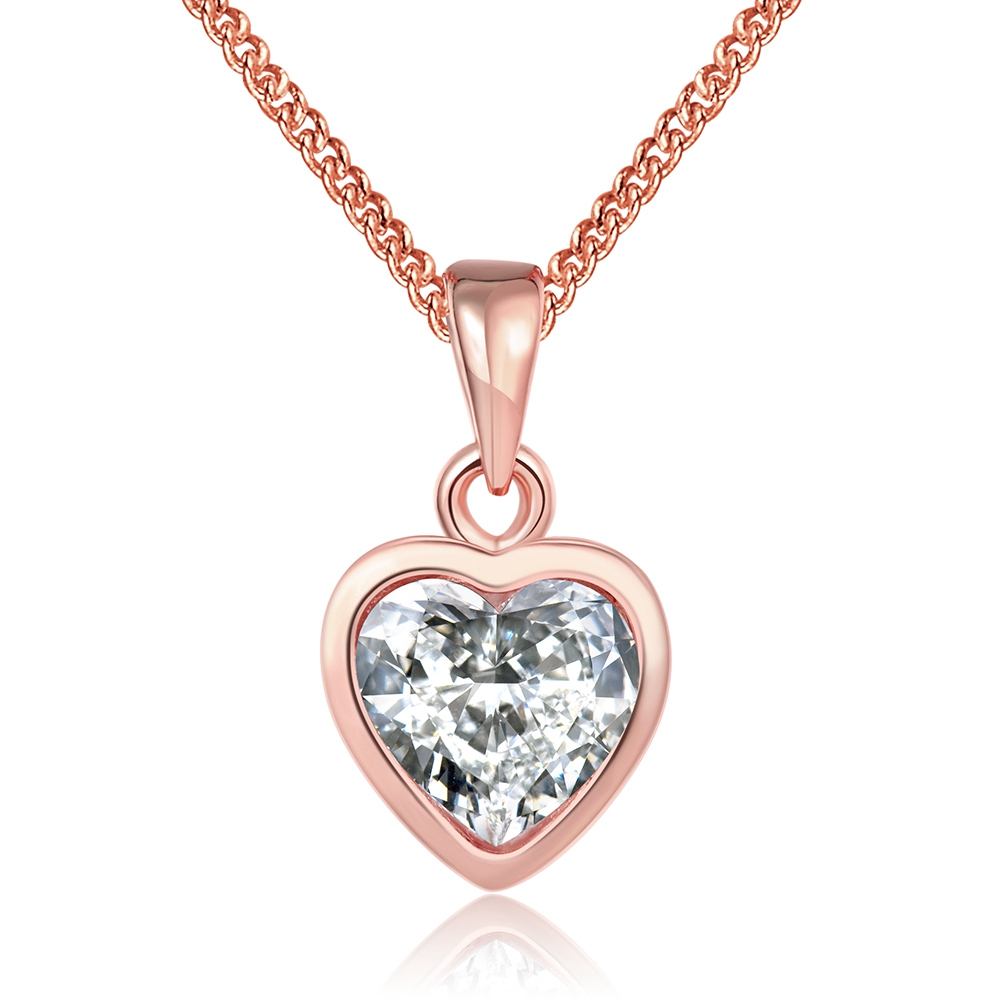 TN306 Heart Shape Rose Gold Color 925 Sterling Silver Pendant Necklace Fashion Wedding Necklaces For Women