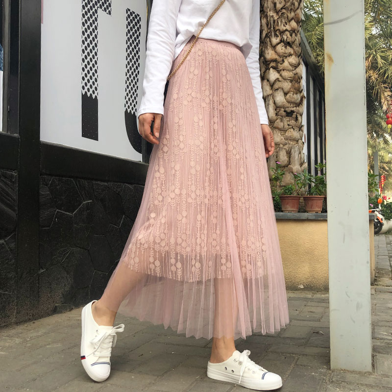 YICIYA lace pink skirt for women long ankle length tulle tule rok tutu pleated skirts 2019 summer clothing high waist a line