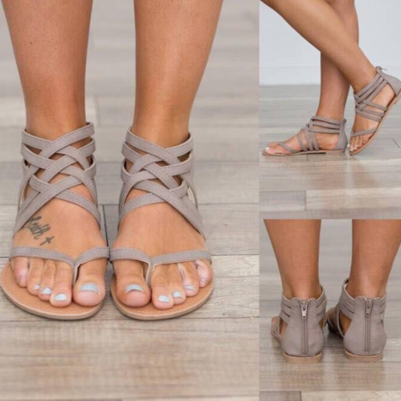 Plus Size 34-43 Summer Women Sandals Flats New Fashion Shoes For Women Casual Rome Style Sandalias plus size 34 43 new 2017 summer women sandals fashion thick high heels party shoes t strap rome style ladies beach shoes