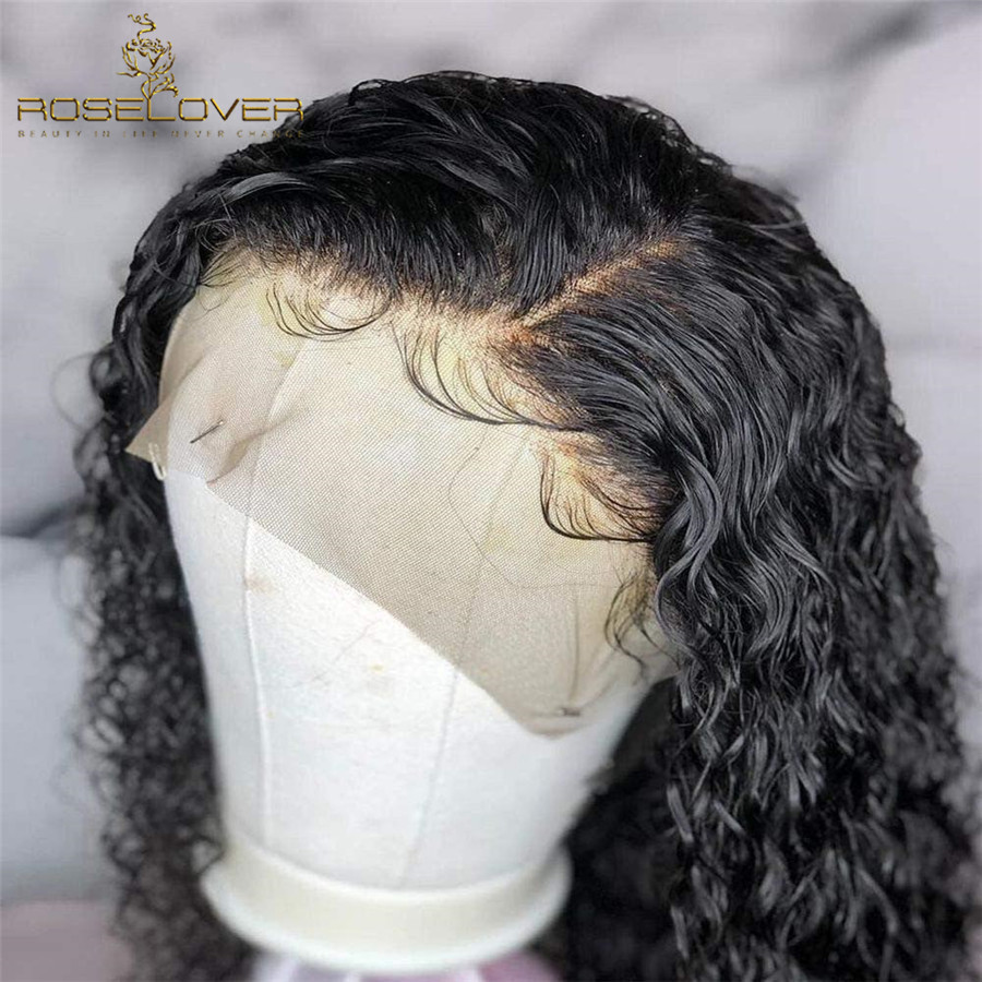 Deep Parting Curly Human Hair Wig Wet and Wavy 13 6 Lace Front Human Hair Wigs