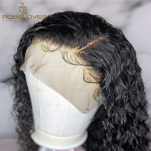 Image 4 - Deep Part 1b/30 Curly Human Hair Wig Wet and Wavy 13*6 Lace Front Human Hair Wigs Short Bob Wig Pre Plucked Brazilian Remy Hair
