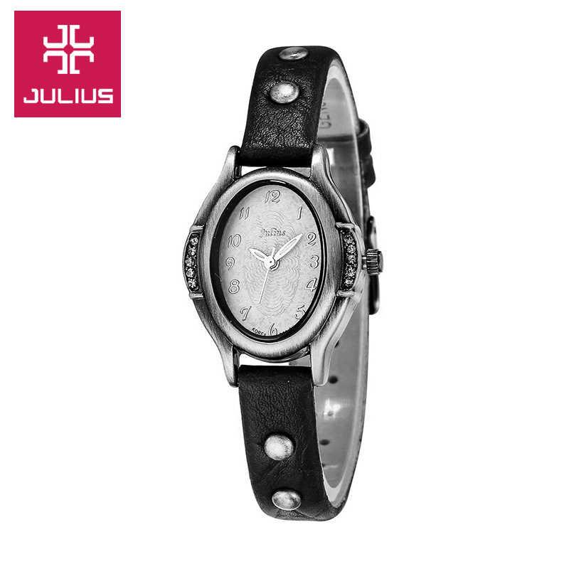 Regalo de Cumpleaños de la muchacha de la Escuela de cuero de la pulsera del vestido de las horas de moda del reloj Retro de cuarzo de Japón del reloj de las mujeres de Julius caja