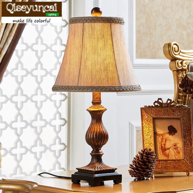 Qiseyuncai American style minimalist modern art bedroom bedside table lamp Vintage rural Wedding minimalist art lighting