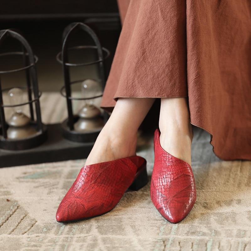 Grey Delle A Signore Grigio Sandali red In Ciabatte Donna Pelle Rosso Tacco Mano Fatti Punta Dell'annata Pantofole Quadrato Da Actmdall Stampa EqPvH