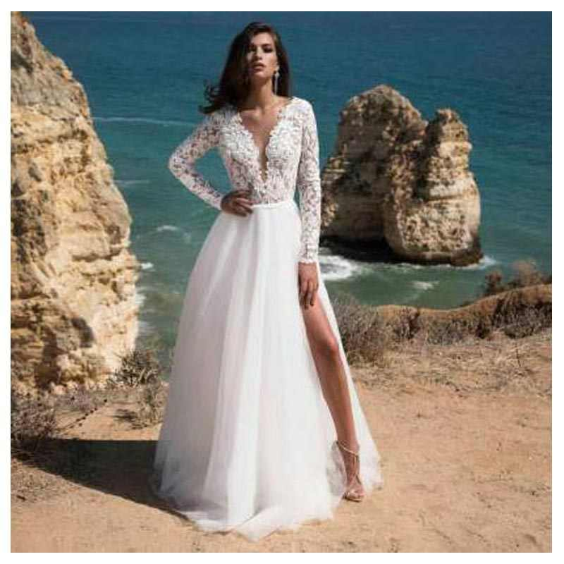 Long Sleeves Boho Wedding Dress 2019 Backless Side Split Appliques Lace A Line Tulle Vintage Bride Dresses Wedding Gown